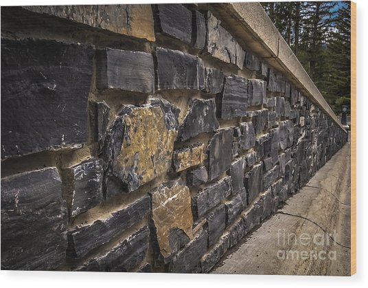 Stone Wall With Perspective Wood Print