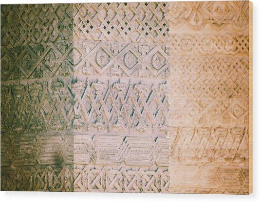 Stone Walls With Geometric Carved Models Wood Print by Vlad Baciu