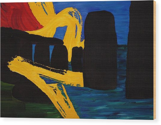 Stonehenge Abstract Evolution1 Wood Print by Gregory Allen Page