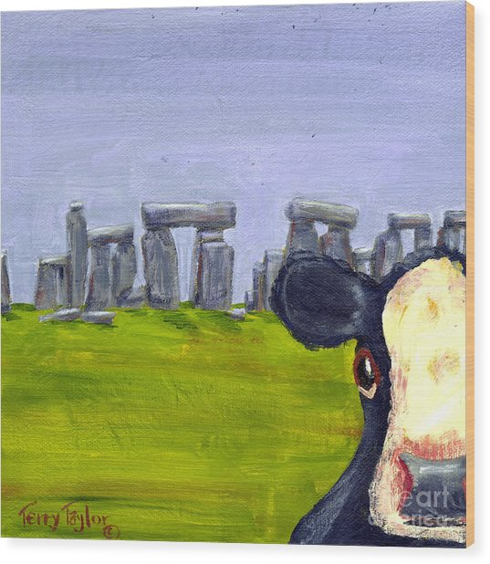 Stonehenge Cow Wood Print