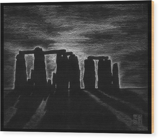 Stonehenge In Black And White Wood Print