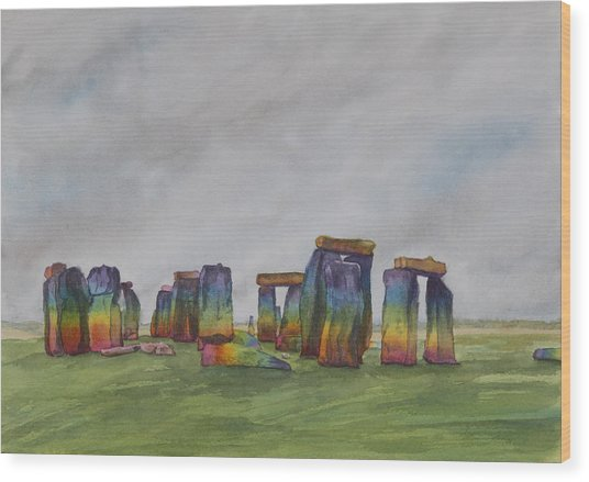 Stonehenge Rainbow Wood Print by Debbie Homewood