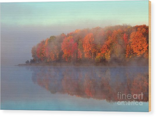 Stoneledge Lake Pristine Beauty In The Fog Wood Print