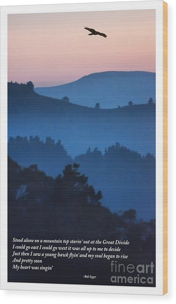 Stood Alone On The Mountain Top Wood Print