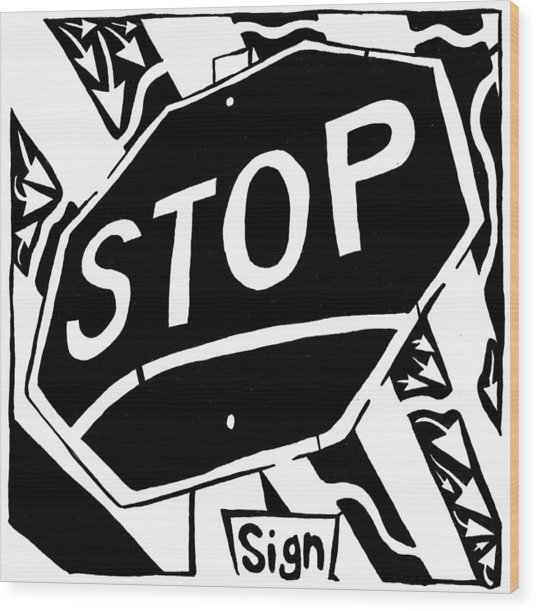 Stop Sign Maze For Letter S Wood Print by Yonatan Frimer Maze Artist