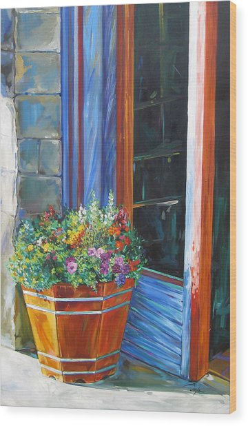 Stopping At An Entryway Wood Print by Karen Doyle