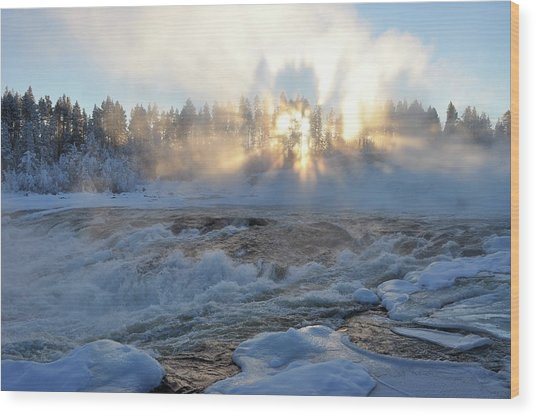 Storforsen, Biggest Waterfall In Sweden Wood Print