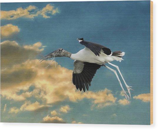 Stork Bringing Nesting Material Wood Print