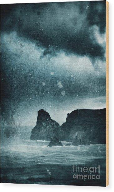 Storm At Sea In Cornwall, England Wood Print by A Cappellari