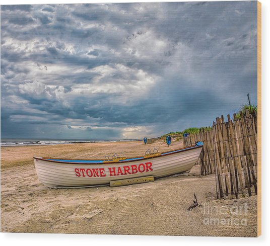 Storm Clouds In Stone Harbor Wood Print