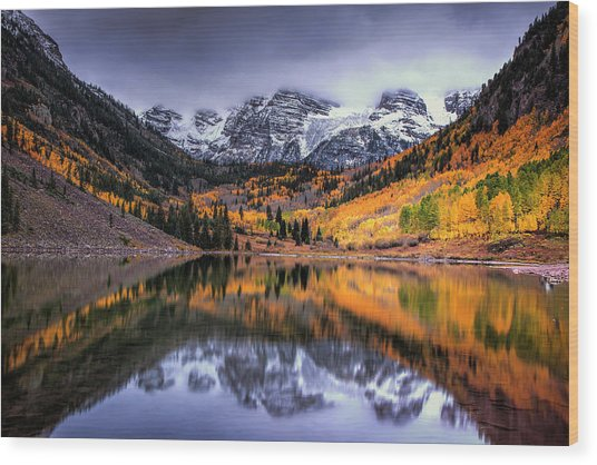 Storm Clouds Over Maroon Bells Wood Print