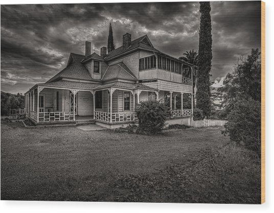 Storm Clouds Over Old House Wood Print