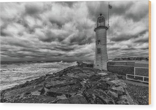Storm Clouds Over Old Scituate Lighthouse In Black And White Wood Print