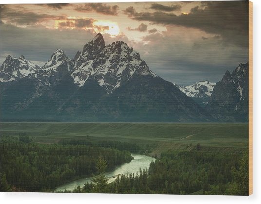 Storm Clouds Over The Tetons Wood Print