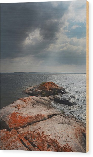 Storm Clouds Over Wall Island Wood Print