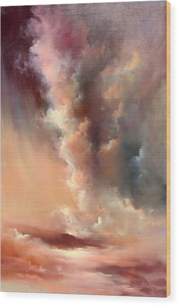 Storm Clouds Rising Wood Print by Sally Seago