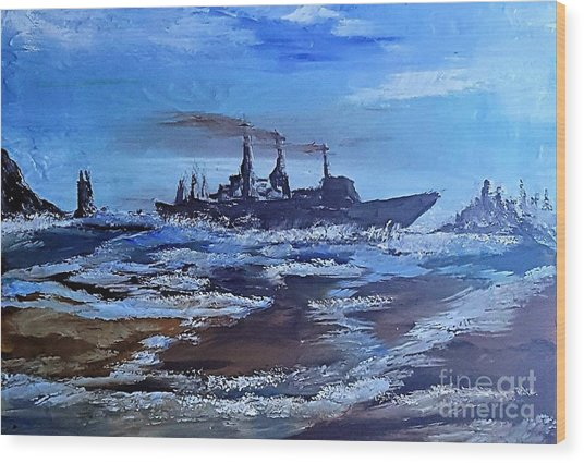 Storm Freighter Wood Print