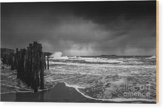 Storm In Saint-malo Wood Print