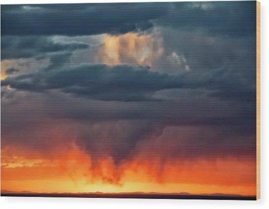 Storm Light Beam, Albuquerque, New Mexico Wood Print