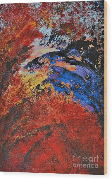 Storm On The Sea Wood Print