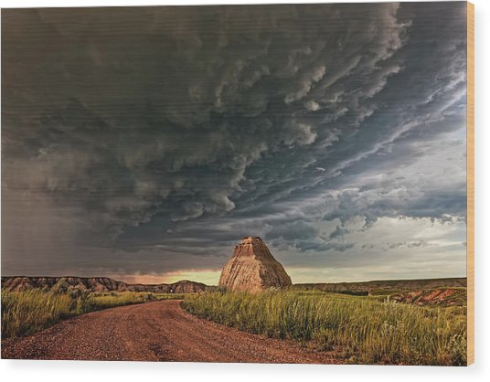 Storm Over Dinosaur Wood Print