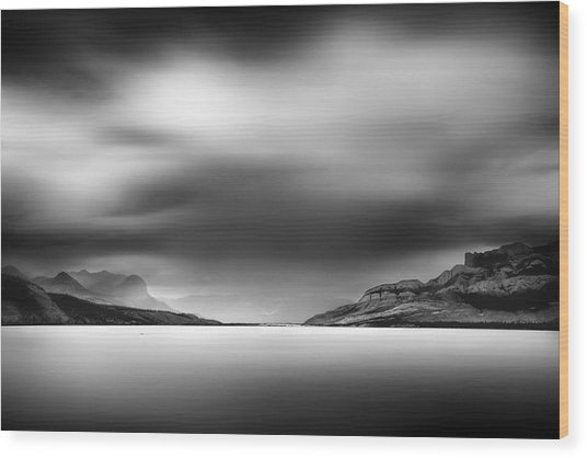 Storm Over Jasper Lake Wood Print