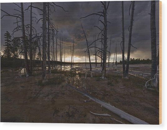 Storm Over Lower Geyser Basin Wood Print
