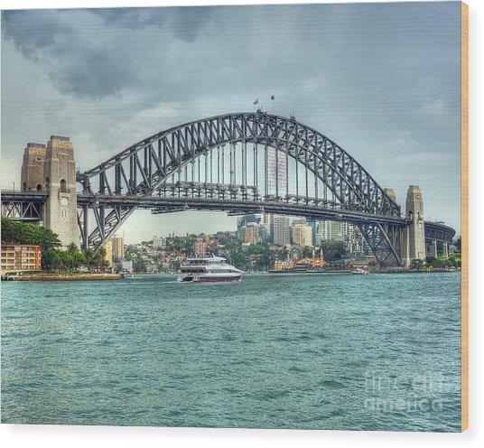 Storm Over Sydney Harbour Bridge Wood Print by Chris Smith