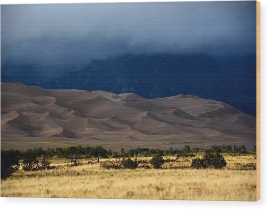 Storm Over The Great Dunes Colorado  Wood Print