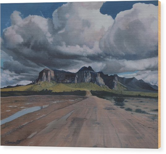 Storm Over The Superstitions Wood Print