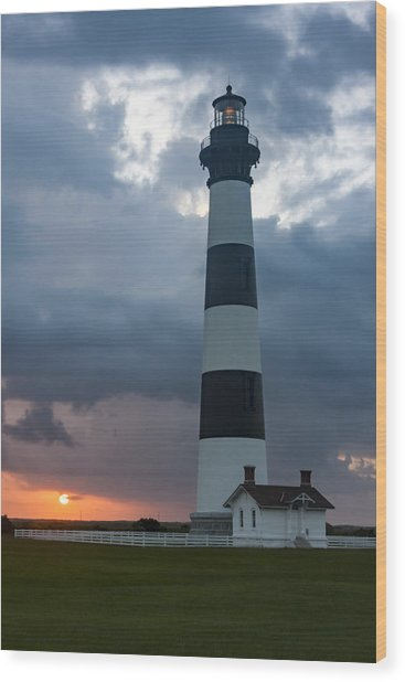 Storm Passes Bodie Island Lighthouse Wood Print
