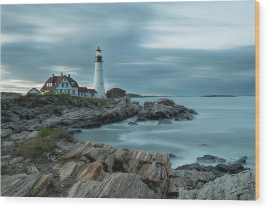 Storm Passing At Portland Head Light Wood Print