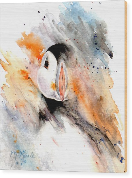 Storm Puffin Wood Print