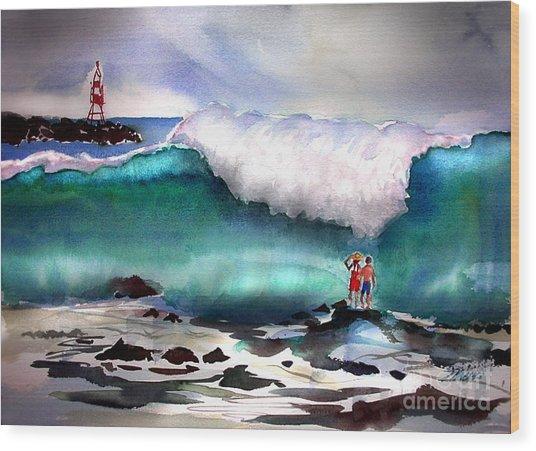 Storm Surf Moment Wood Print