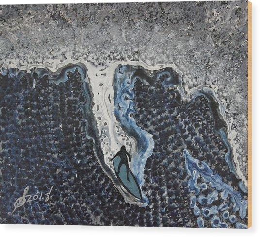 Storm Surfer Original Painting Sold Wood Print