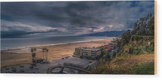 Storm Watch Over Malibu - Panarama  Wood Print