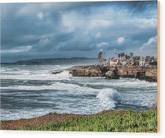 Storm Wave At Sunset Cliffs Wood Print