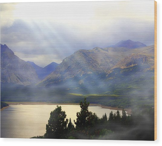 Storms A Coming-lower Two Medicine Lake Wood Print