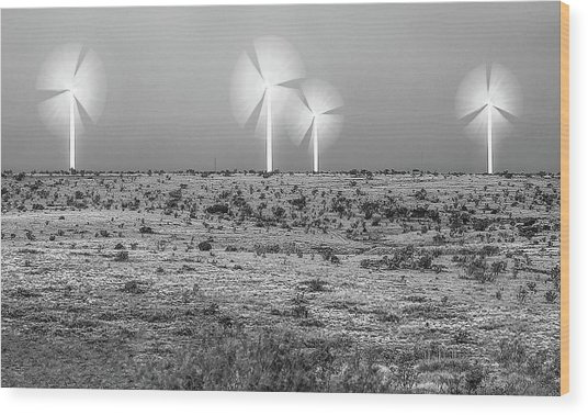 Storms And Halos Bw Wood Print