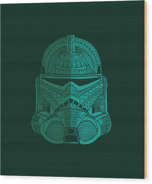 Stormtrooper Helmet - Star Wars Art - Blue Green Wood Print