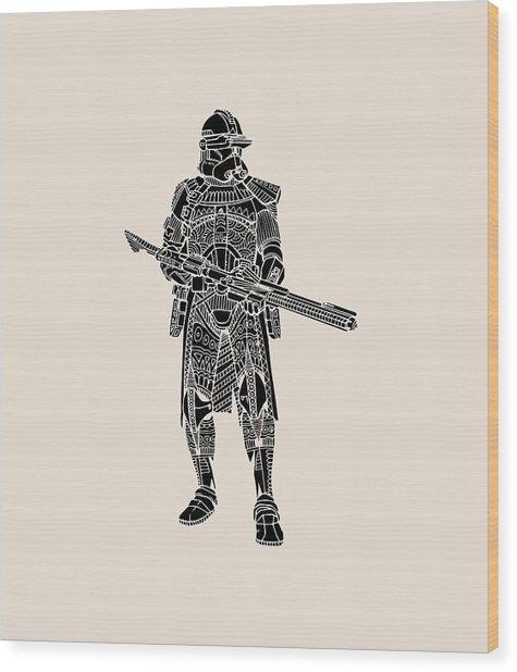Stormtrooper Samurai - Star Wars Art - Black Wood Print