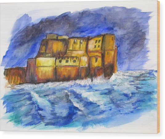 Stormy Castle Dell'ovo, Napoli Wood Print