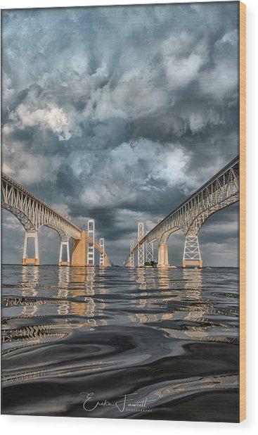 Stormy Chesapeake Bay Bridge Wood Print