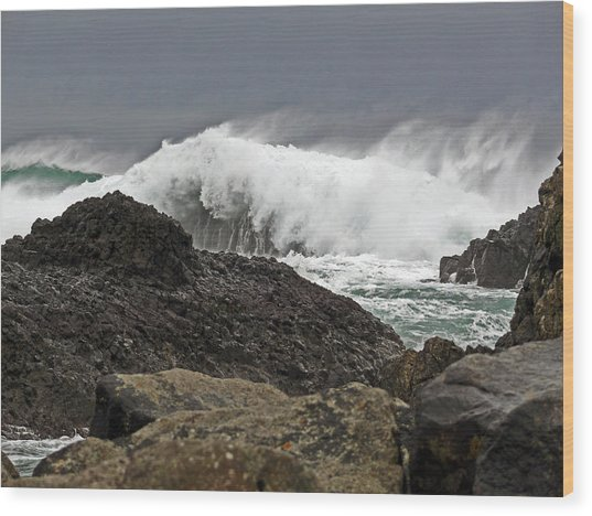 Stormy Day At Ballintoy Harbour Wood Print