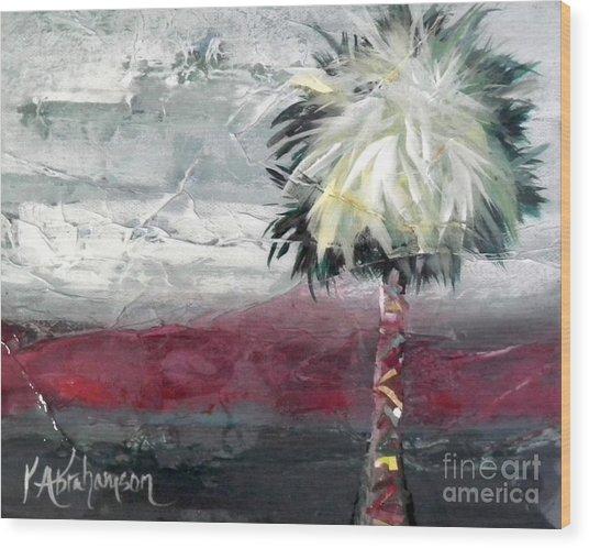 Stormy Horizons Palm Tree Wood Print