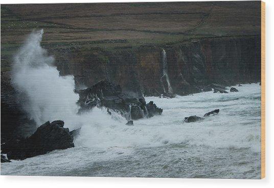 Stormy Irish Seas Wood Print by Nicole Robinson