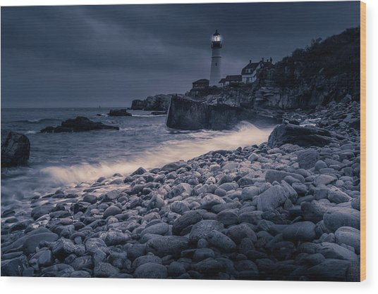 Stormy Lighthouse 2 Wood Print