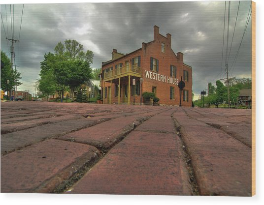 Stormy Morning On Main Street Wood Print