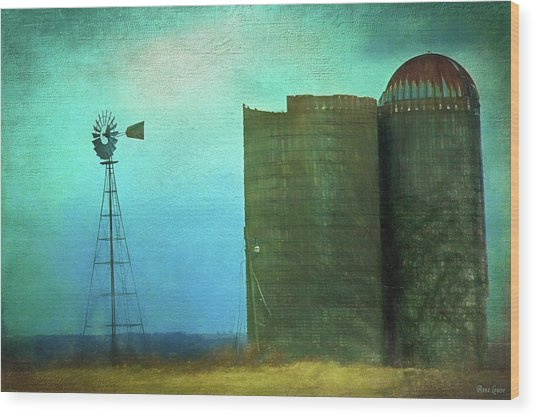 Stormy Old Silos And Windmill Wood Print