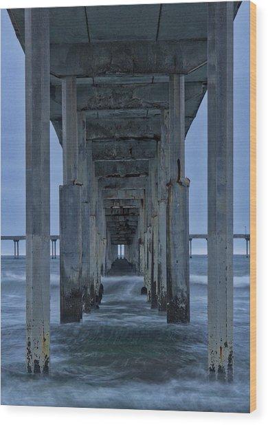 Stormy Pier In Ocean Beach Wood Print